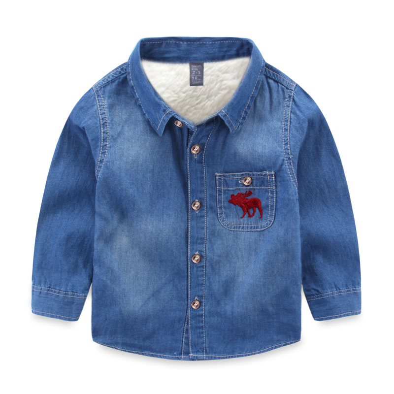 Boys Denim long sleeve Kids thicken wool winter warm shirts chemise - Children's Clothing - Photo 3