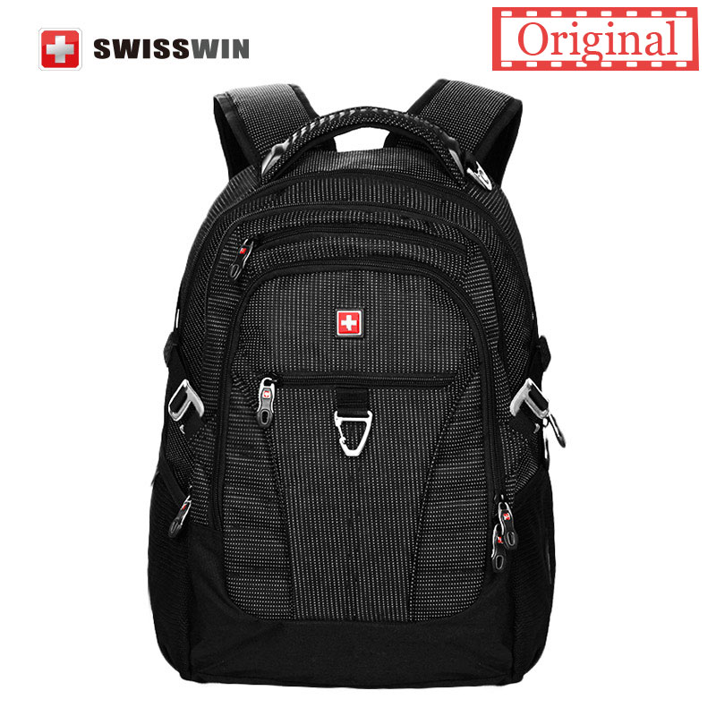 Swiss Brand 15 Laptop Backpack Classic Men's Daily Backpack for Computers School Bookbag For Teenage Boys Bagpack SW9222 Black computers