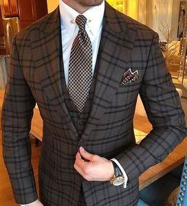 Мужской винтажный костюм из 3 предметов, серый клетчатый костюм с отворотом, облегающий смокинги для мужчин, смокинги для свадьбы (куртка + б...