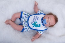 20 inch 50 cm Silicone baby reborn dolls, lifelike doll reborn Blue Fashion piece sleepwear baby