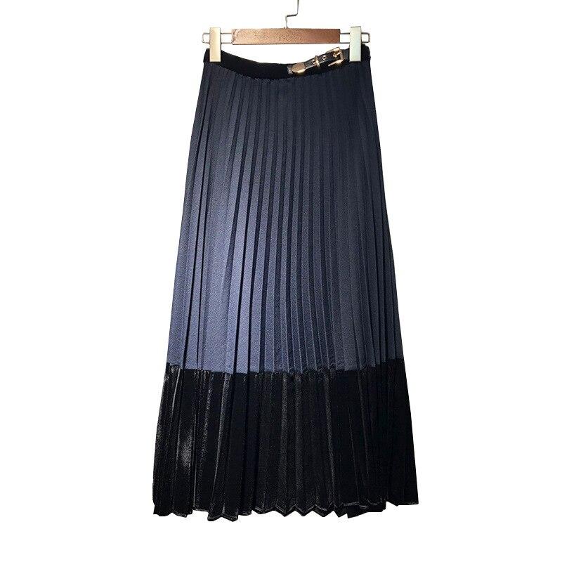 Terciopelo Las Plisada E Mujeres Real Azul Otoño Invierno De Falda Costura 2019 ACw0xpwq
