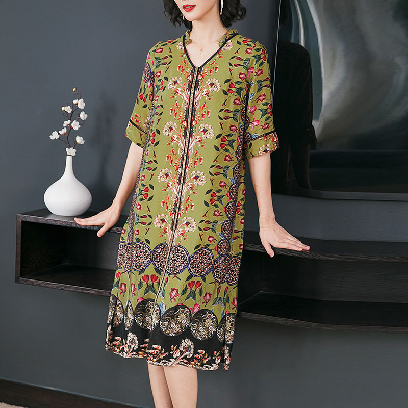 YICIYA Summer Print Floral Silk Dress for Women Plus Size Large Elegant Boho Vintage Party Dresses Xxl Xxxl Green Loose Clothing in Dresses from Women 39 s Clothing