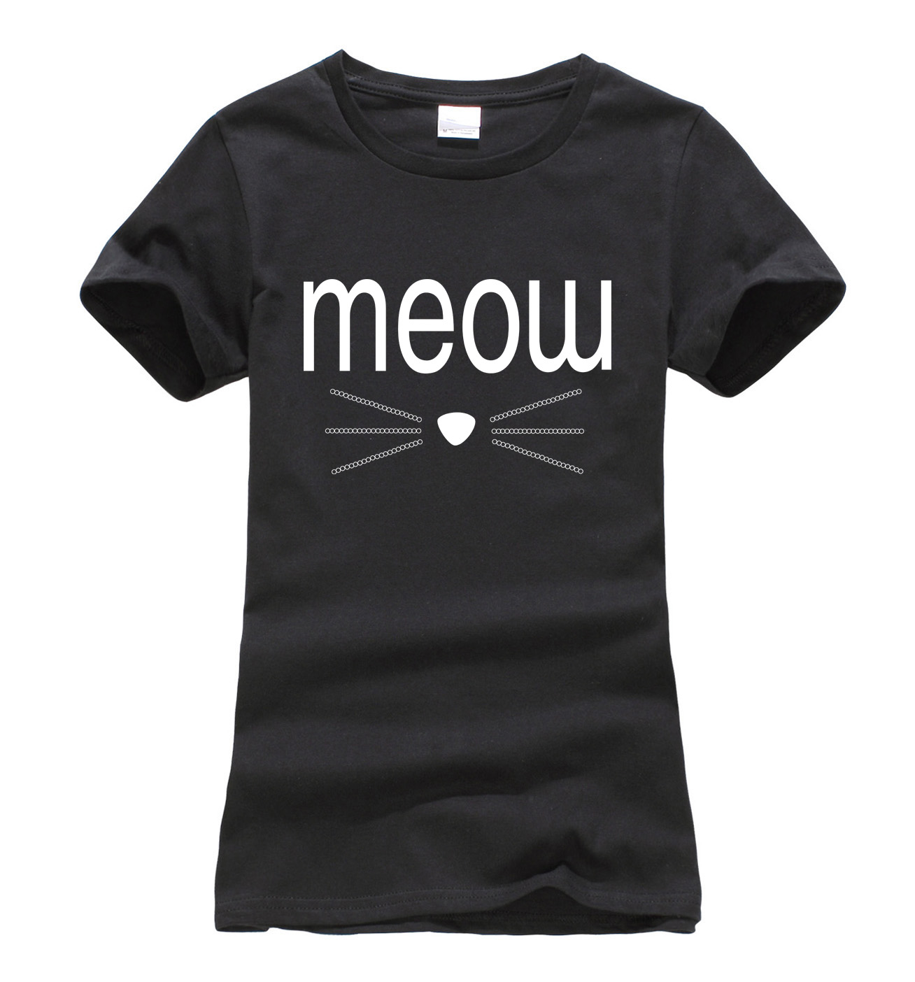kawaii meow whiskers funny tee shirt femme 2017 summer. Black Bedroom Furniture Sets. Home Design Ideas