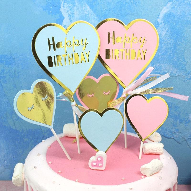 Sensational 1Set Happy Birthday Cake Decoration Supplies Heart Star Cake Funny Birthday Cards Online Ioscodamsfinfo