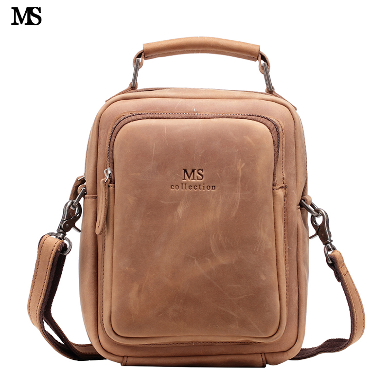 MS European Style Men Crazy Horse Leather Vintage Zipper Single Laptop Messenger Shoulder Attache Portfolio Fashion Bag T100 цена и фото
