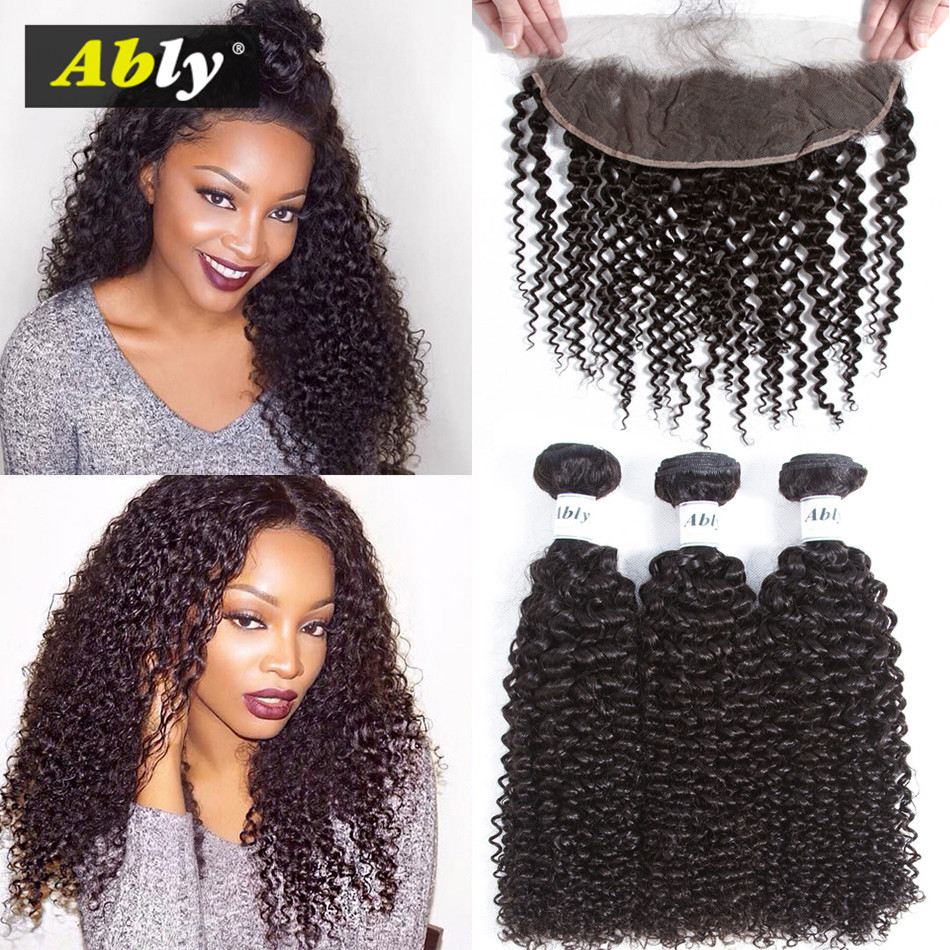 Curly Hair 3 Bundles With Frontal Malaysian Remy Human Hair Weft - Human Hair (For Black)