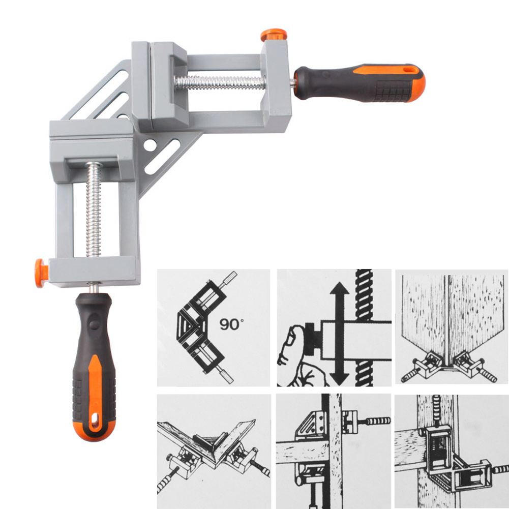Double Handle 90 Degrees Angle Clamp Woodworking Frame Clip Tool ALI88 ninth world new single handlealuminum 90 degree right angle clamp angle clamp woodworking frame clip right angle folder tool