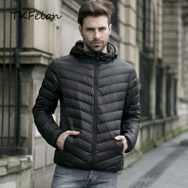 2018 New Autumn Mens Hooded Jackets Fashion Thin Lightweight Portable Duck Down Winter Warm Coat with Hat Male Casual Slim Coats