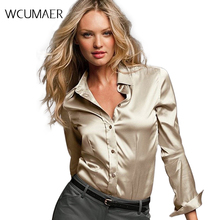 fb57406f8bf2ea Women silk satin blouse button long sleeve White Gold Red Black lapel  ladies office work elegant