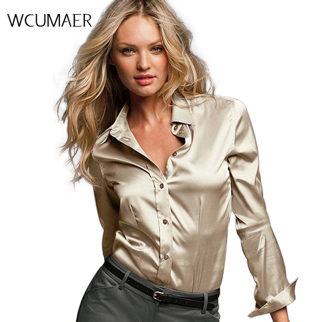 Women silk satin blouse button long sleeve White Gold Red Black lapel ladies office work elegant female satin silk blouses shirt
