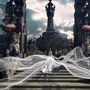 Image 2 - 6 10 15 20 30 מטרים חתונה תמונה מסיבת כלה ארוך במיוחד 6 10 15 20 30 M לבן רשת טול רעלה הכלה שנהב רעלות ללא מסרק