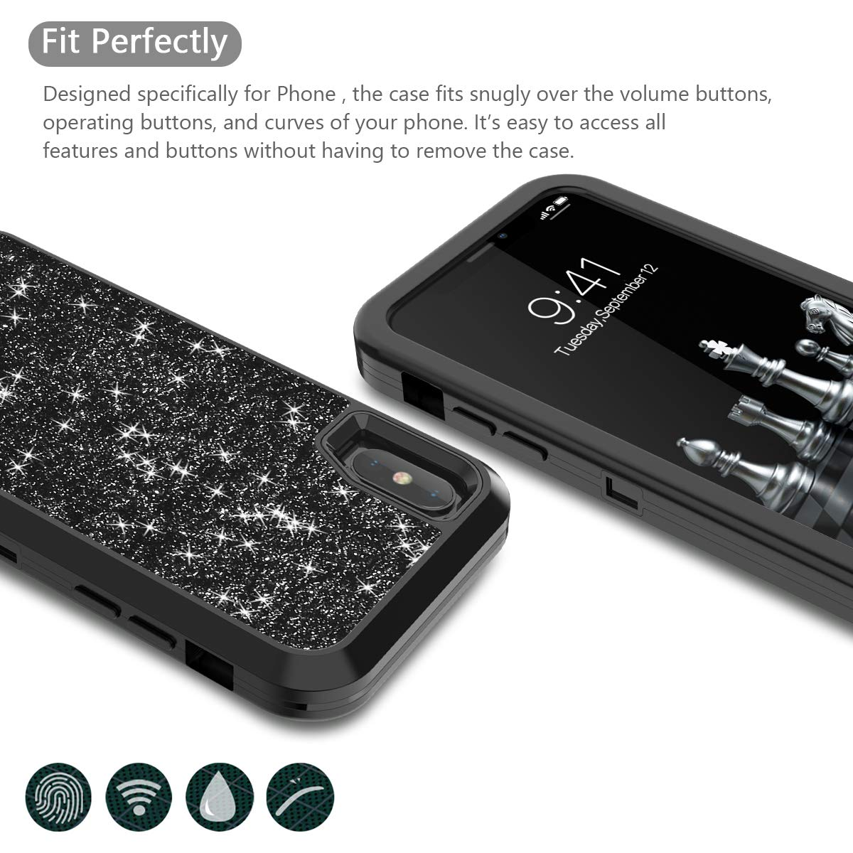 Image 3 - Shockproof Protect For Apple iPhone XR X XS Max Case Hybrid Hard Rubber Impact Armor Bling Phone Cases For iPhone 7 8 Plus Cover-in Fitted Cases from Cellphones & Telecommunications