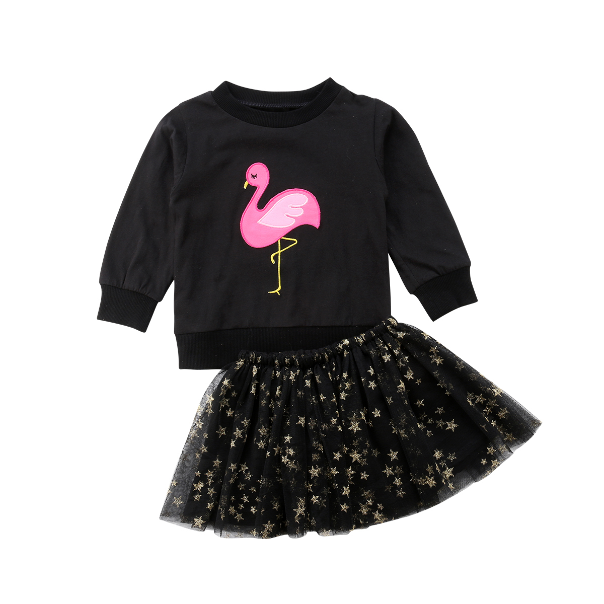 Little Girls Flamingo Clothes Outfits Baby Kids Girl Long Sleeve Tops Sweatshirt Tutu Skirts Outfits Clothing Set 2019