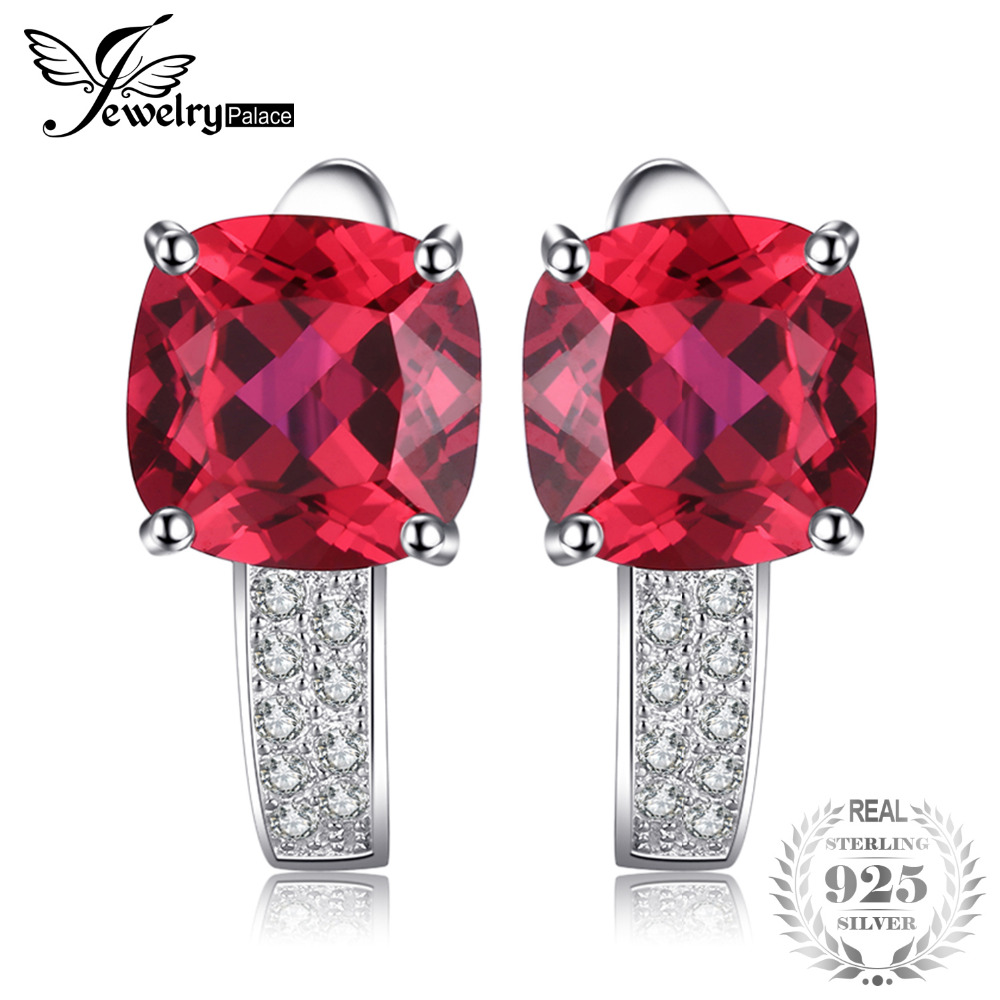 JewelryPalace Cushion 4.6ct Created Red Ruby clip earrings 925 Sterling Silver Earring Fine Jewelry for Fashion gift for Women