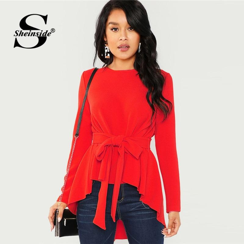 b9f8db6e5c00 Sheinside Red Elegant Long Sleeve Belted Blouse Asymmetrical Hem Women 2018  Fall Causal Shirt blouse Womens