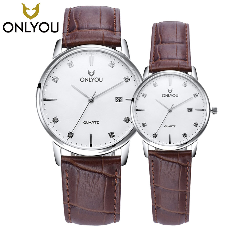 ONLYOU Fashion Brand Watch Women's Watches Ladies Watches Top Brand Luxury Wristwatches Couple 23cm Leather Band Quartz Clock onlyou hot gold silver male watches woman watch quartz wristwatches 2017 top luxury brand stainless steel band couple gift clock