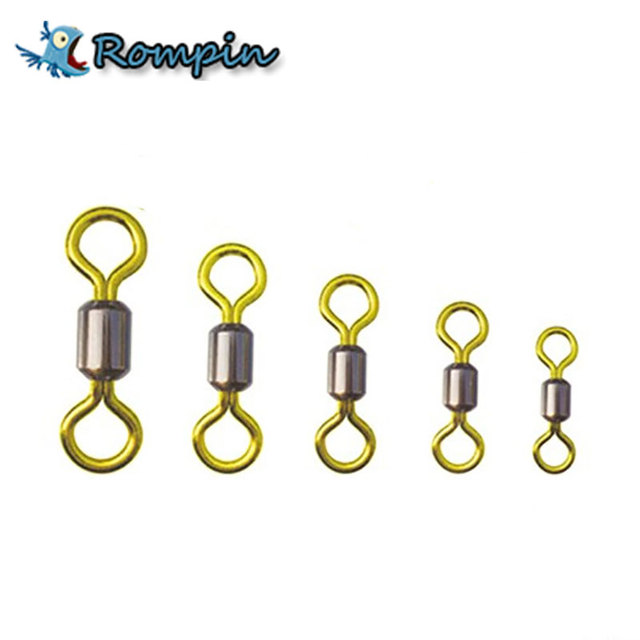 50pcs/lot Double Color Fishing Rolling Swivel brass Fishing tackle accessories size 2/4/6/8/10/12