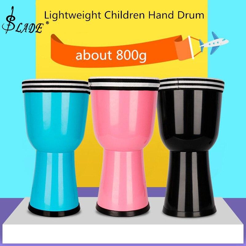 Tambour de djembé africain Durable de 8 pouces coloré ABS baril PVC peau légère enfants tambour à main 3 couleurs en option