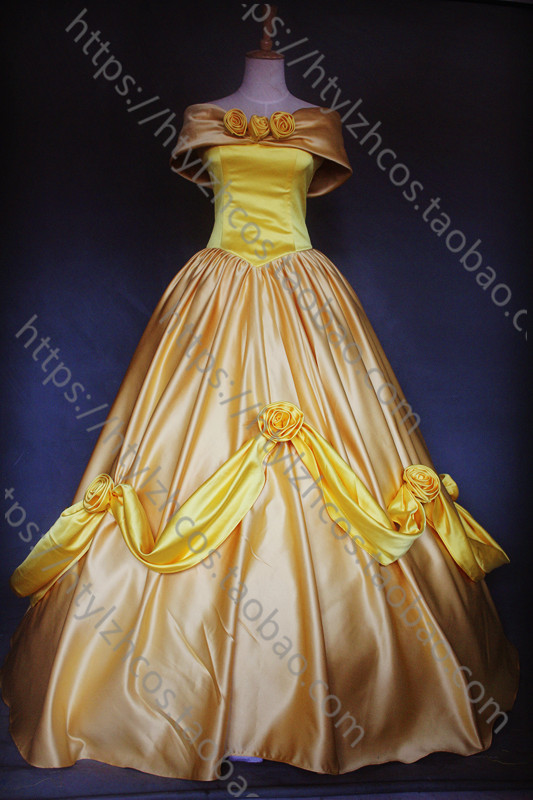 Beauty And the Beast Belle Princess yellow GOWN red adult cosplay dress