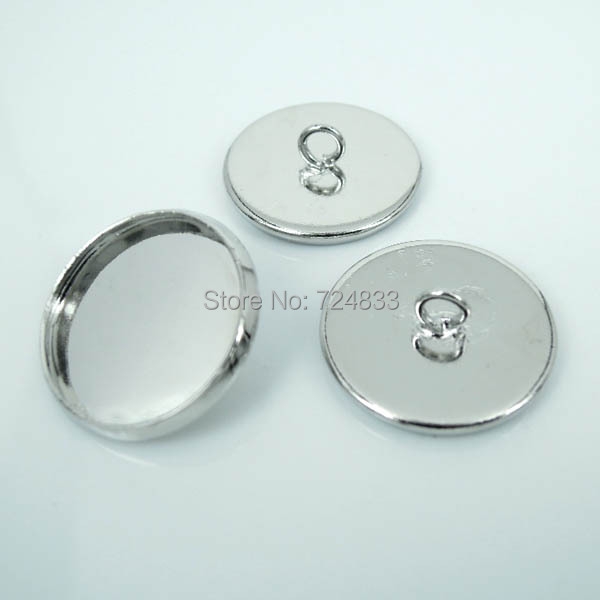 Blank Round Curved Bezel with Loop Back Buttons Bases Cabochons ...