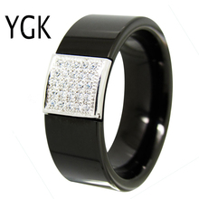 YGK Wedding Jewelry Black Pipe With fine Silver CZ Stone Inlay Tungsten Ring Bridegroom Engagement Anniversary