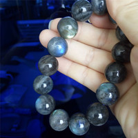 20175A New Arrival Fashion Stretch Power Bracelets For Women Mens 15mm Big Round Crystal Bead Natural