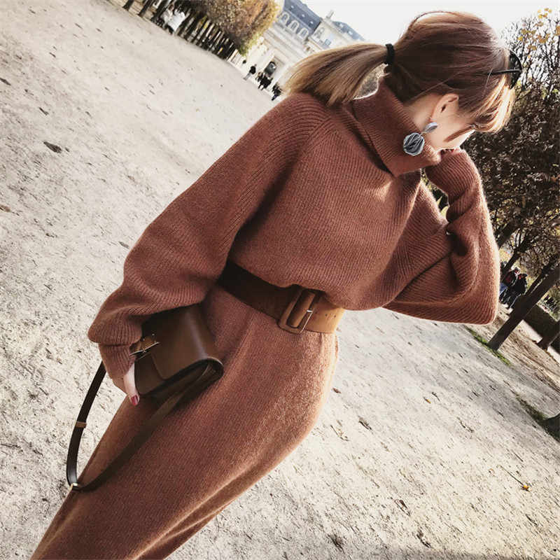 2018 Drop Ship Winter Female Sweater Dress Women Pullover Turtleneck Long Sleeves Warm Slim Sweater Knitted Dress with Belt