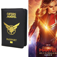 Avengers Captain Marvel Passport Cover Men Women Pu Leather Cross Stripe Rfid Travel Passport Holder for Credit Card Case HEQUN new pu leather passport cover holder women men travel credit card holder travel id card document passport holder