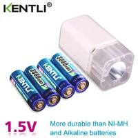 4pcs KENTLI 1.5v 3000mWh Li polymer li ion lithium rechargeable AA battery batteries + 4 slots Charger with LED flashlight