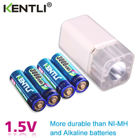 4pcs KENTLI 1.5v 3000mWh Li polymer li ion lithium rechargeable AA battery batteries + 4 slots Charger with LED flashlight