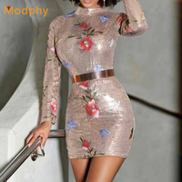 Modphy Winter Women Sexy Mini Print Sequined O Neck Bodycon Vestidos Full Sleeve Celebrity Party Bandage