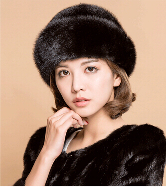 The new  mink fur hat the whole skin middle-aged and old fashion winter cap women