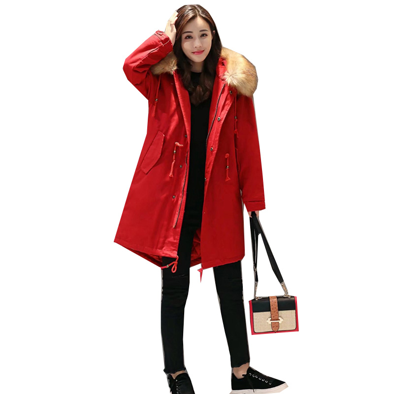 2018 Winter Jacket women Plus Size Parkas Thicken Outerwear Fur collar hooded Coats Long Female Cotton padded basic tops YM863 цена