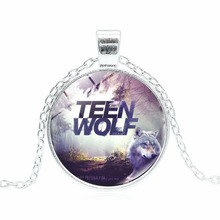 Silver Plated Jewelry with Glass Cabochon Teen Wolf Pattern Choker Long Pendant Necklace for Women Men Party
