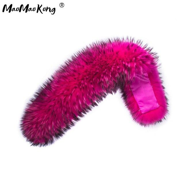 MAOMAOKONG большой с капюшоном Мех животных S 100% реального енота цвет меховой воротник одежда высшего качества