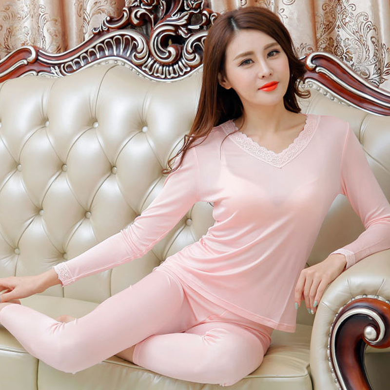 Silk Women's Knit Lace V-neck Thermal Underwear Set Bottom Sleepwear Long Johns Health Intimates Long Sleeve Sleep Wear Cueca