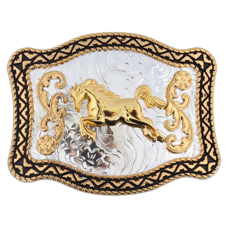 Golden Horse Belt Buckle Double Color Smooth Buckle