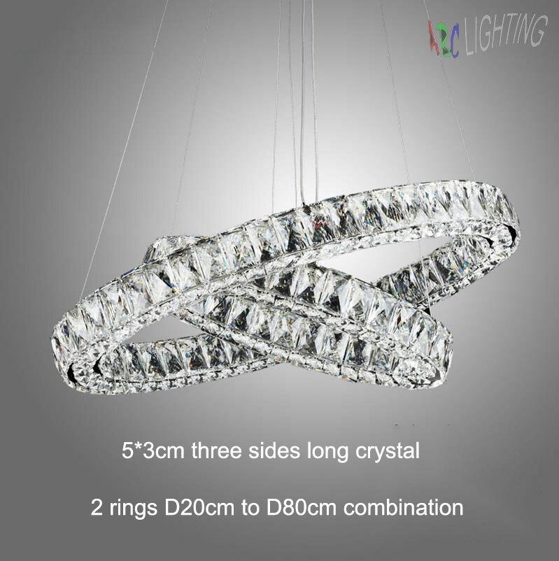 Modern Led Long Crystal Pendant Lamps D20 D30 D40 D50 D60 D70 D80cm 2 Round Rings