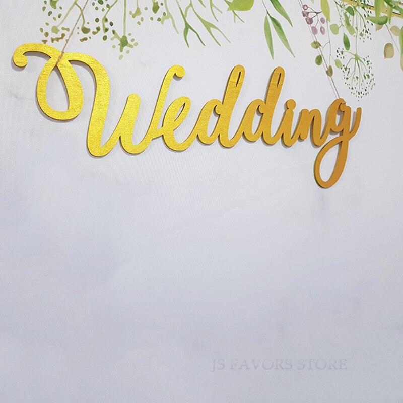 Livraison gratuite 1 pièces engagé partie créative lettre mariage décoration fond décorations murales ornements arches en bois