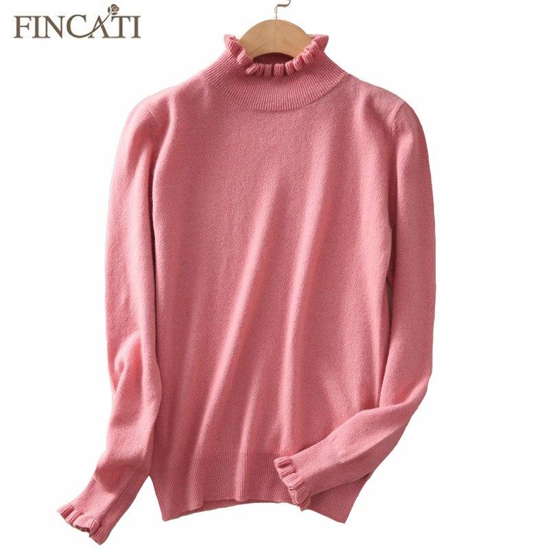 Women Pullover 2017 Autumn Winter High Quality Pure Cashmere Ruffled Collar Cuff Soft Skin Friendly Casual