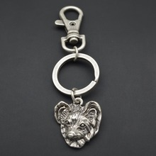 2017 hot fashion vintage 3D cute Papillon dog key chain for men and women gift jewelry animal key charm sport style