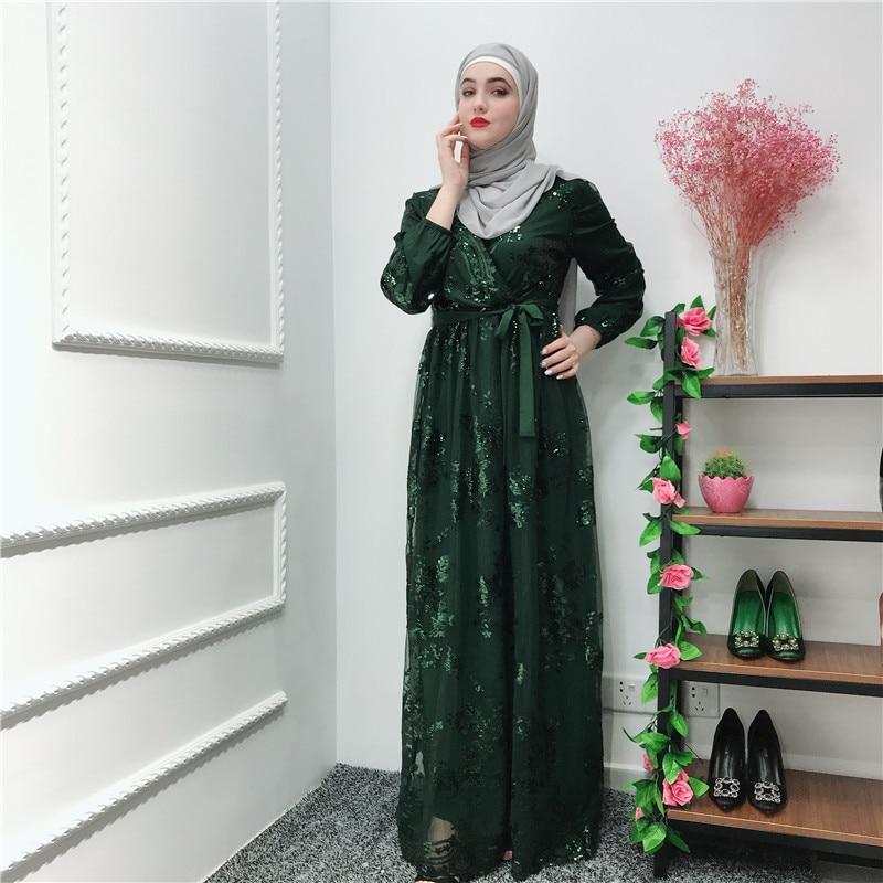 Image 5 - ラマダンスパンコールレースのためのドバイトルコイスラム教徒ヒジャーブドレスカフタン Abayas アバヤ女性 Jilbab  カフタン服カタール Elbise ローブ    グループ上の ノベルティ