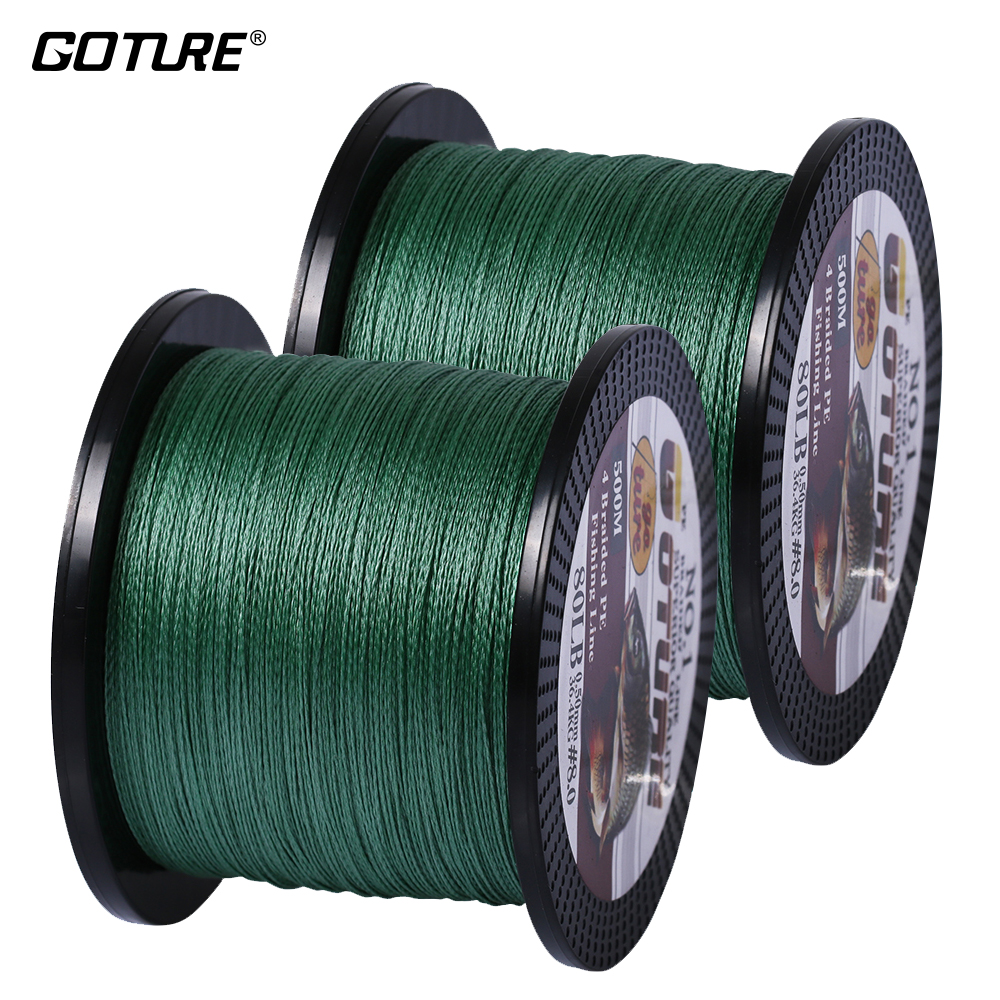 [Total 1000m] Goture 2pcs/lot  Multifilament PE Braided Fishing Line 500M 4 Strands Carp Fishing Line 12-80LB 5 Color Available