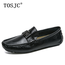 TOSJC High Quality Men Loafers Genuine Leather Moccasins Buckle Footwears Male Breathable Slip-on Flats Driving Shoes Boat Shoes цена