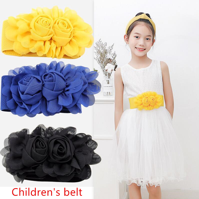 Fashion Children Waist Belt Girl Double Rose With Skirt Elastic Princess Chiffon Waist Width