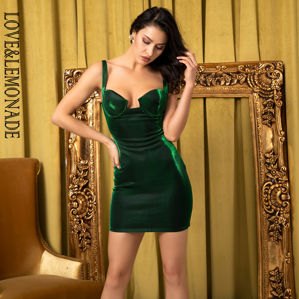 Love Lemonade Sexy Green Strapless Bodycon Reflective Fabric Party Dress LM81729 1