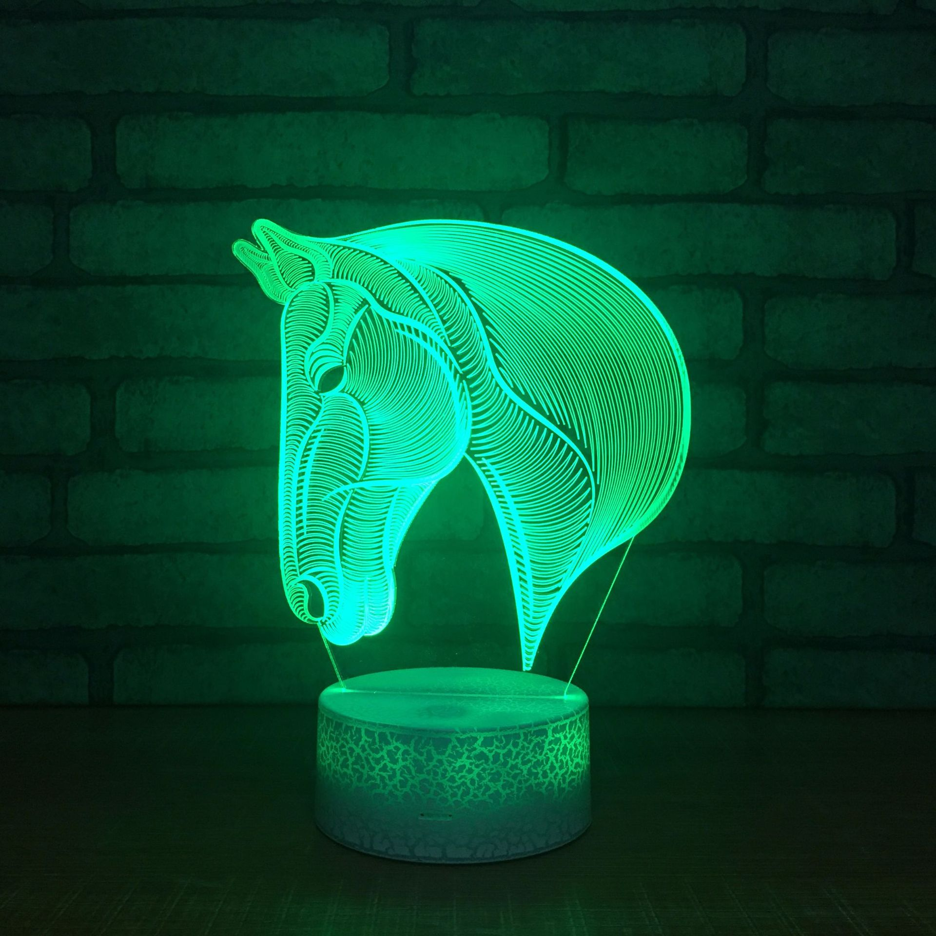 New Led Acrylic 3d Lamp Creative Holiday Gift Horsehead 3d Night Light Wholesale 7 Color Change Light Fixtures