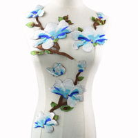 1Set Embroidery Blue Bouquet Lace Polyester Fabric, DIY Handmade Collar Lace Fabrics Patch For Sewing Collar Crafts