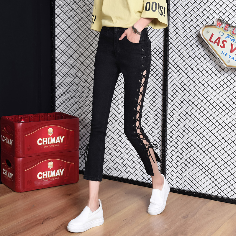 Autumn Women High Waist Jeans Side Lace Up Bandage Cotton Jeans Skinny Pencil Denim Pants Sexy Hollow Out Slim Fit Punk Trousers free shipping wild cat limited edition vintage pin up skinny pencil pants high waist hip up cotton denim pants women slim jeans