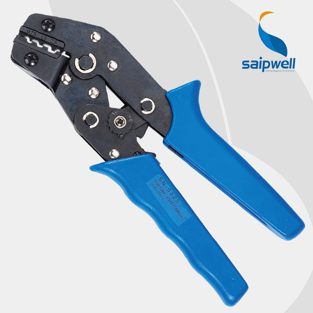 Saipwell SN-0325 One Hand Mini European Style Cable Crimping Plier Crimper For Non-Insulated Terminals 20-14AWG 0.75-2.5mm2